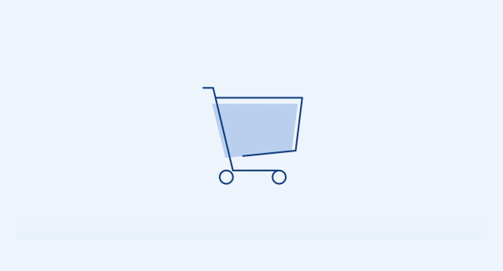 Cart without badge illustration on light blue narrow