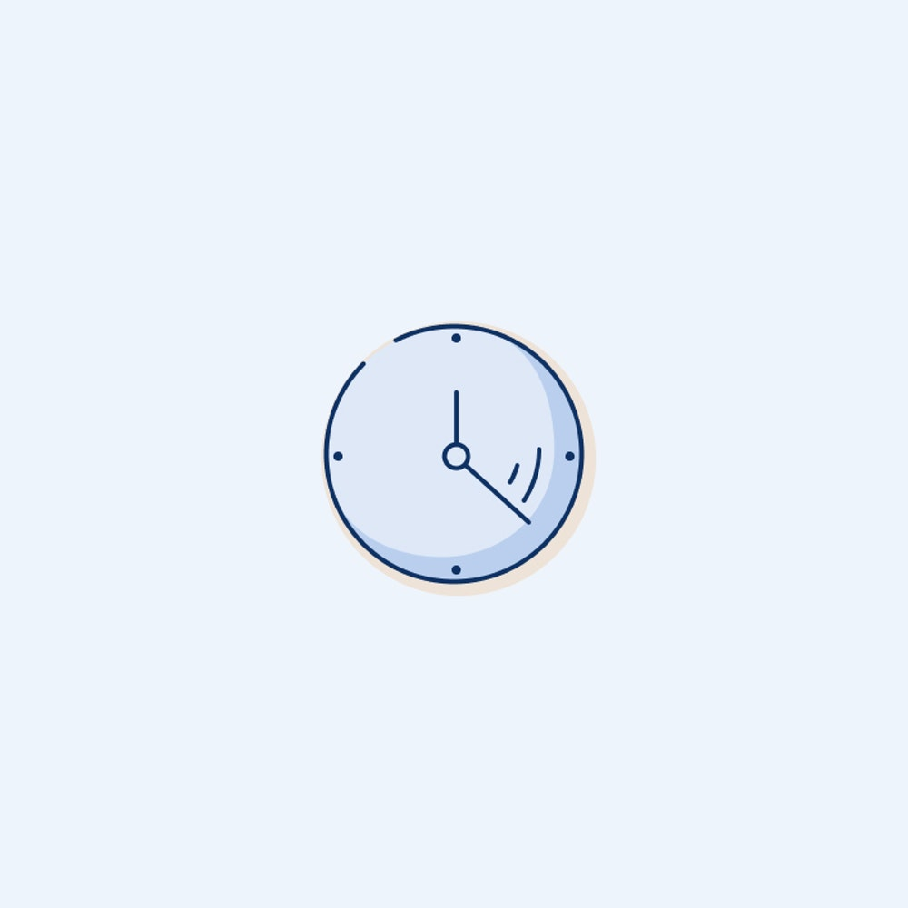 Clock illustration on blue
