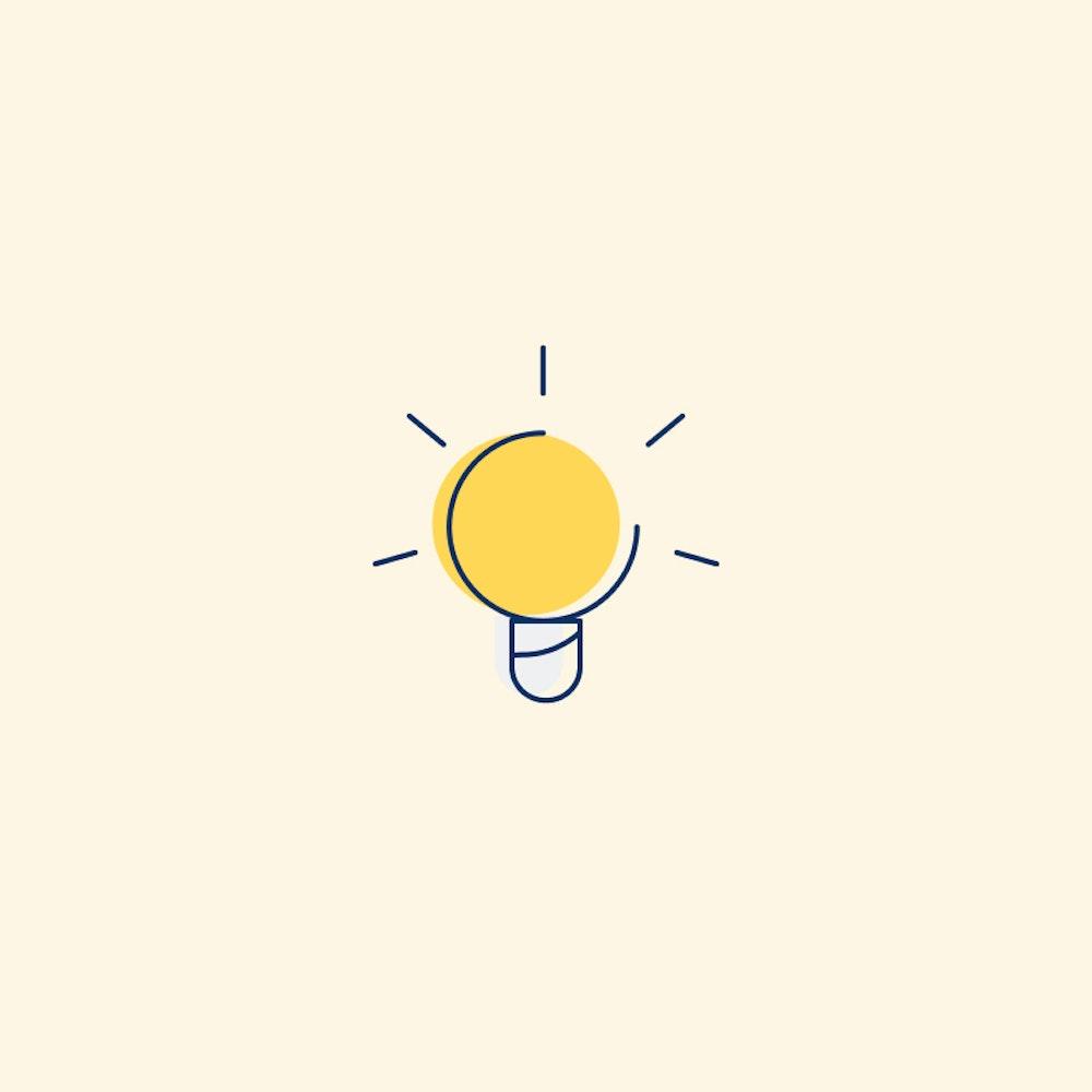 Lightbulb illustration on yellow