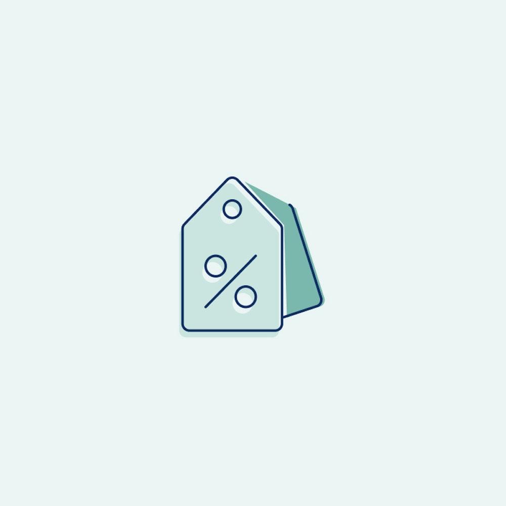 Sales tag illustration on green