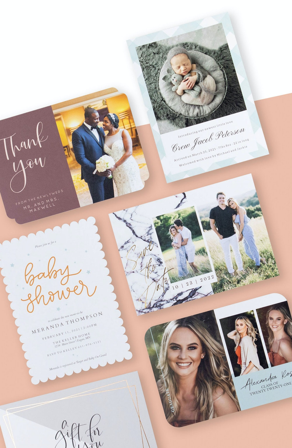 5x7 foil pressed Flat Cards for multiple occasions