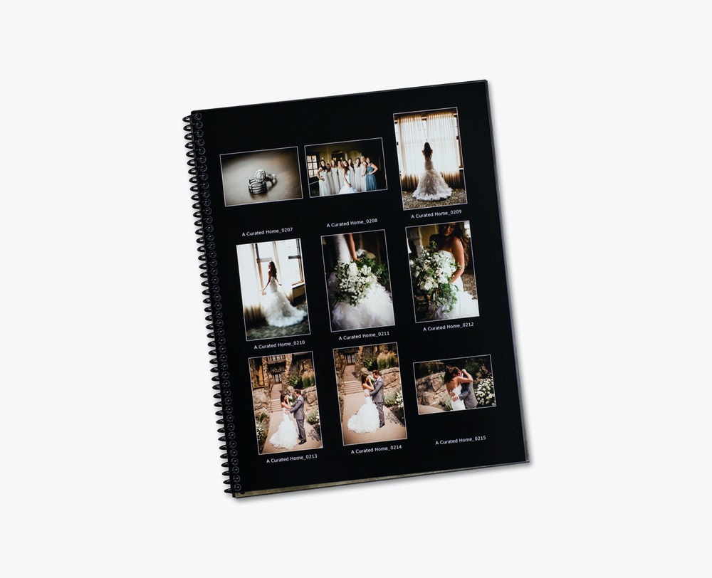 Black background Proofbook contact sheet