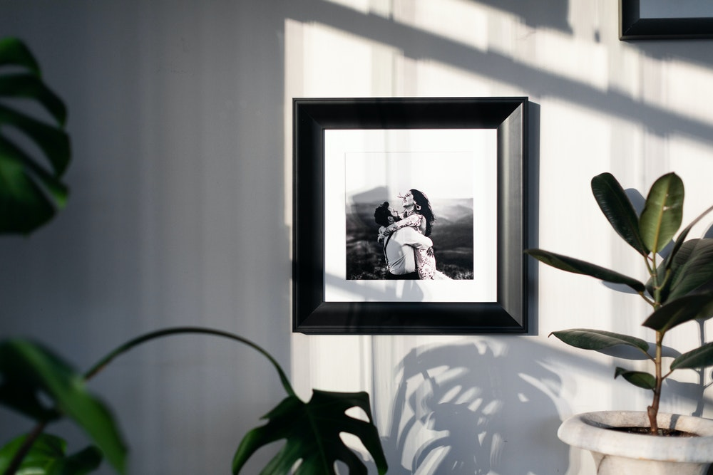Black framed black and white Fine Art Print with white mat hanging on wall with plants