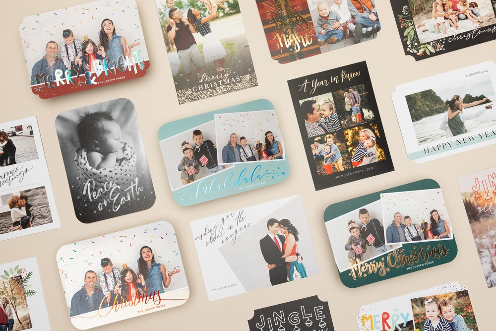 Grid of multiple foil pressed 5x7 Flat Cards