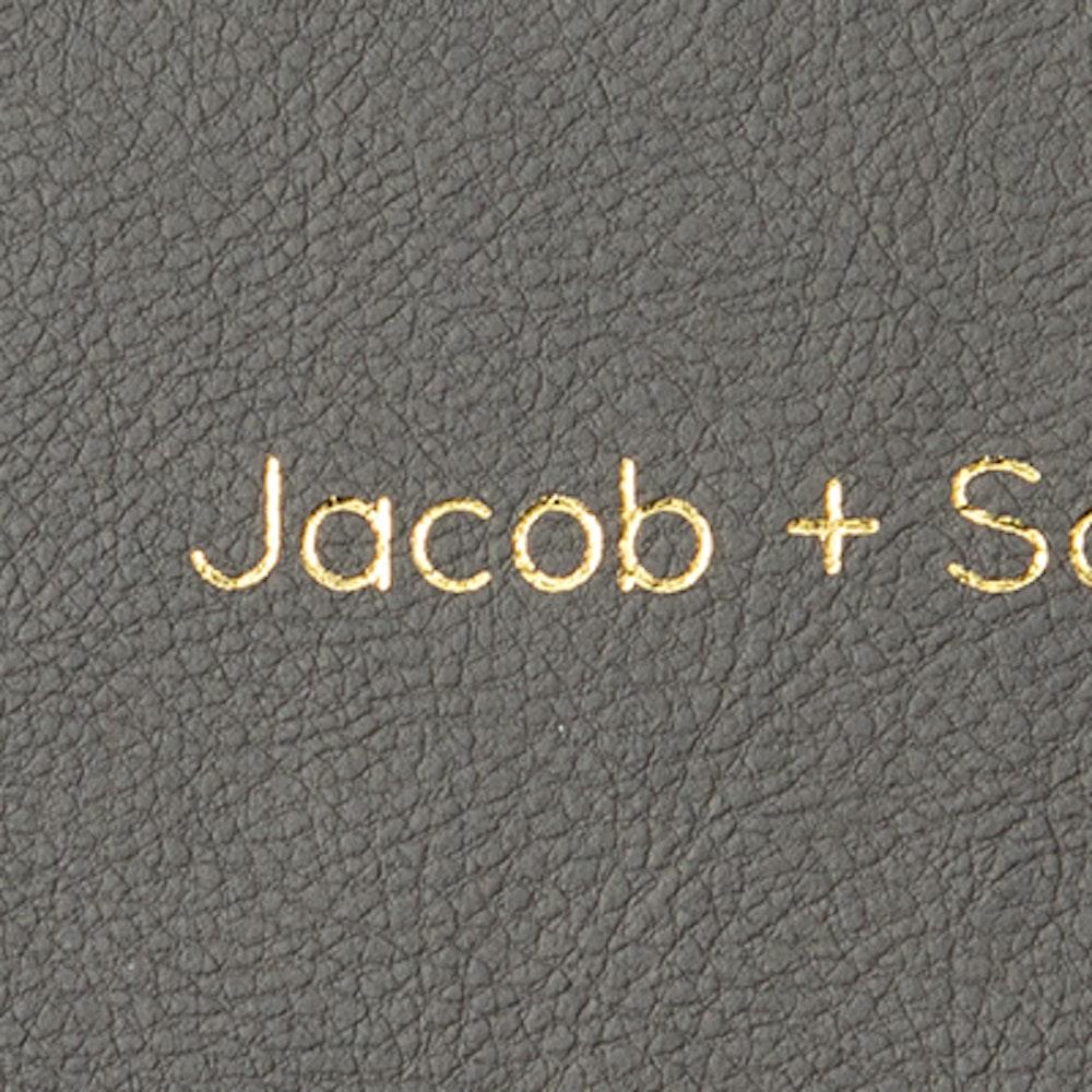 Cover gold foil debossing in Quicksands font detail