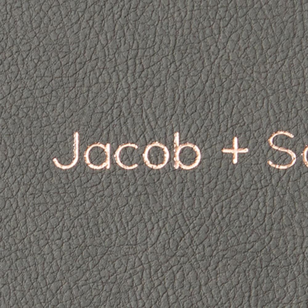 Cover rose gold foil debossing in Quicksands font detail