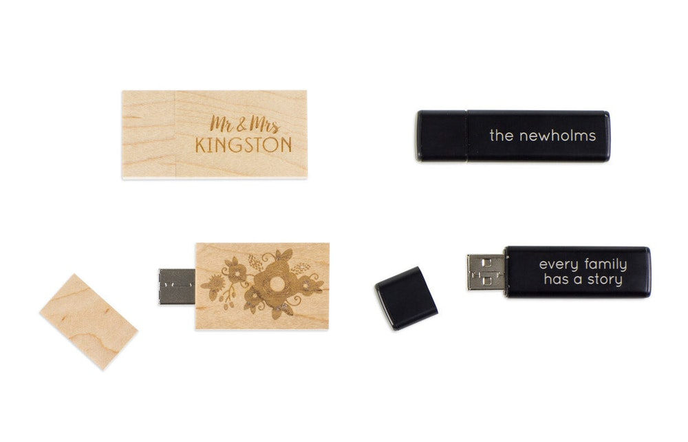 Engraved black and wood USB drives