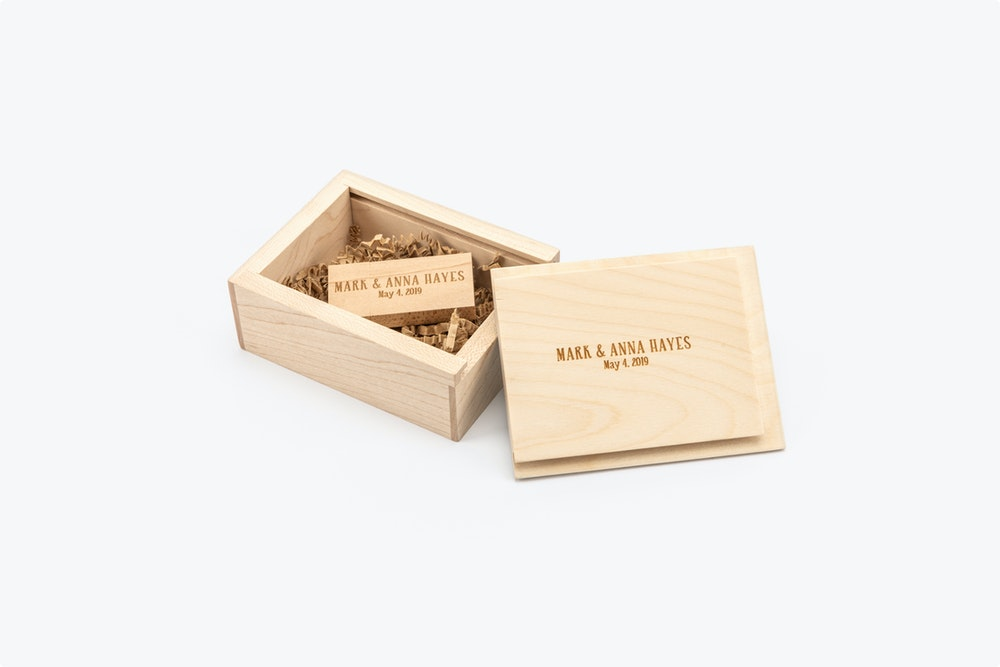 Engraved USB Drive in Wood USB Box