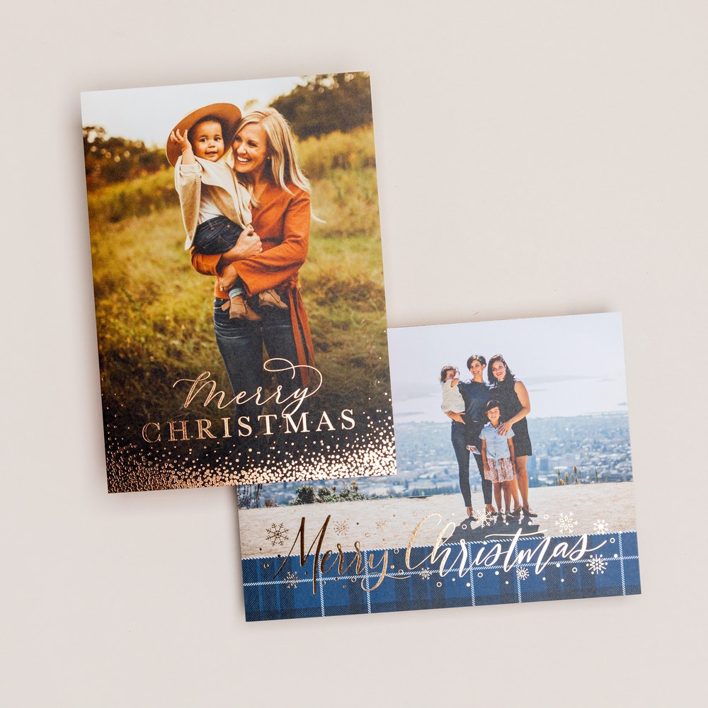 Holiday gold foil pressed 5x7 Flat Card designs