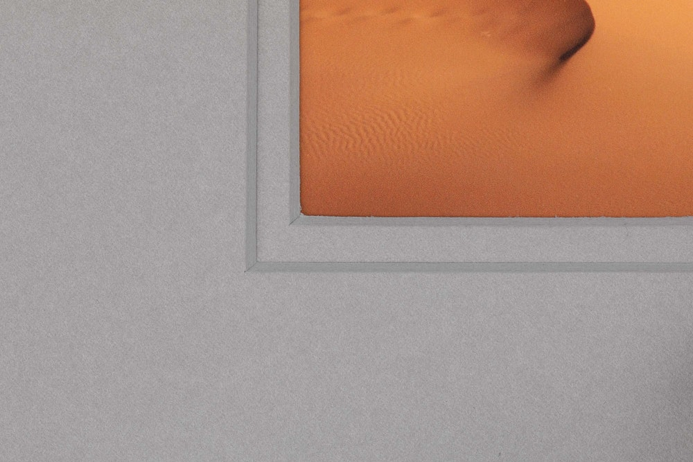 Framed Print double gray mat detail