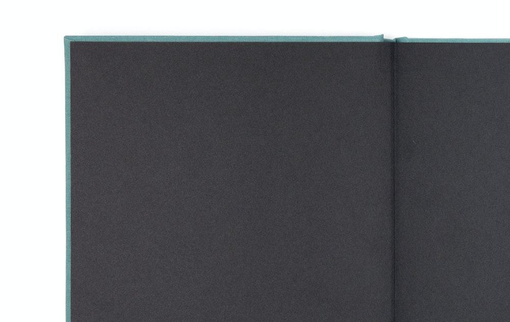 Layflat Book smooth black endleaves detail