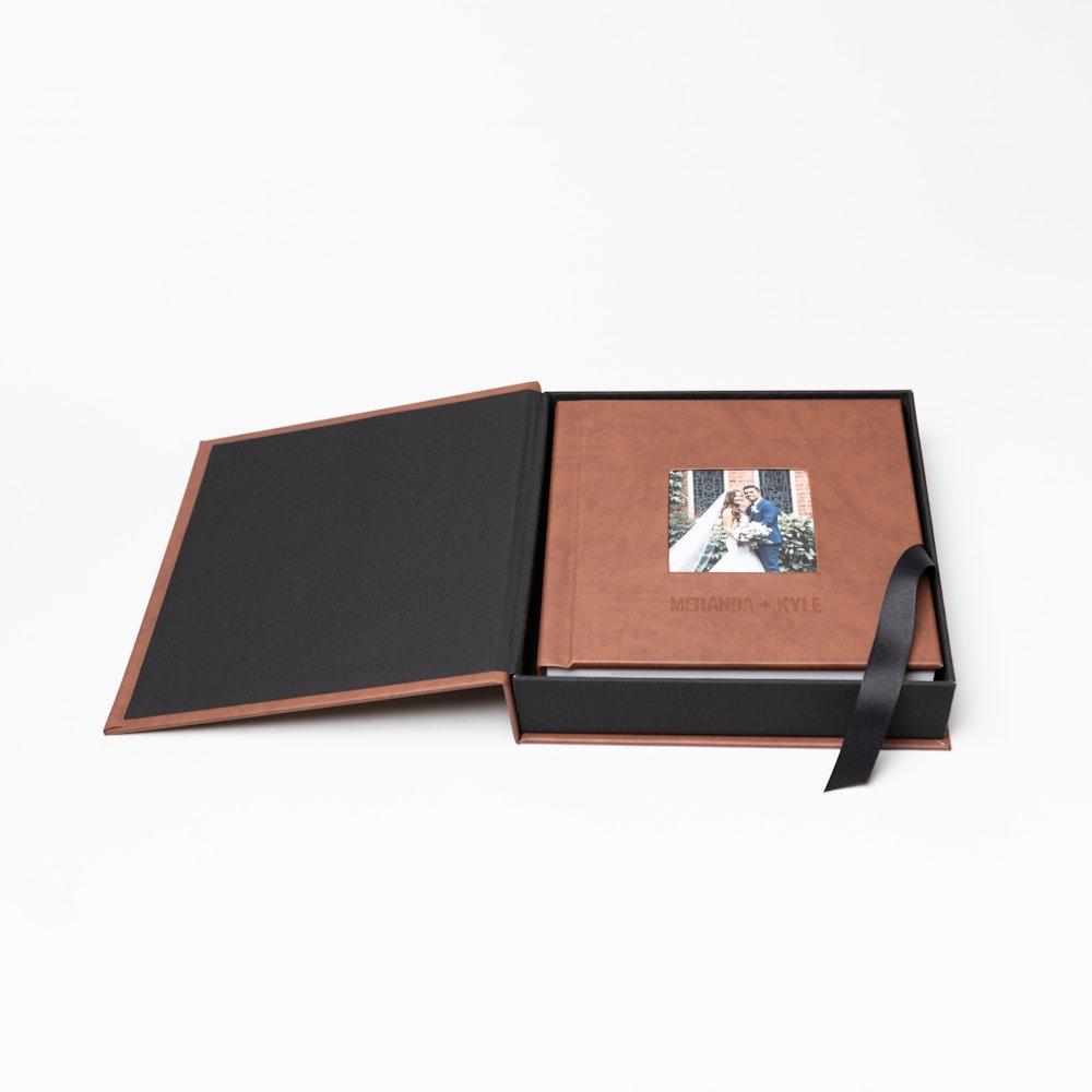Leather cameo cover wedding Album Box