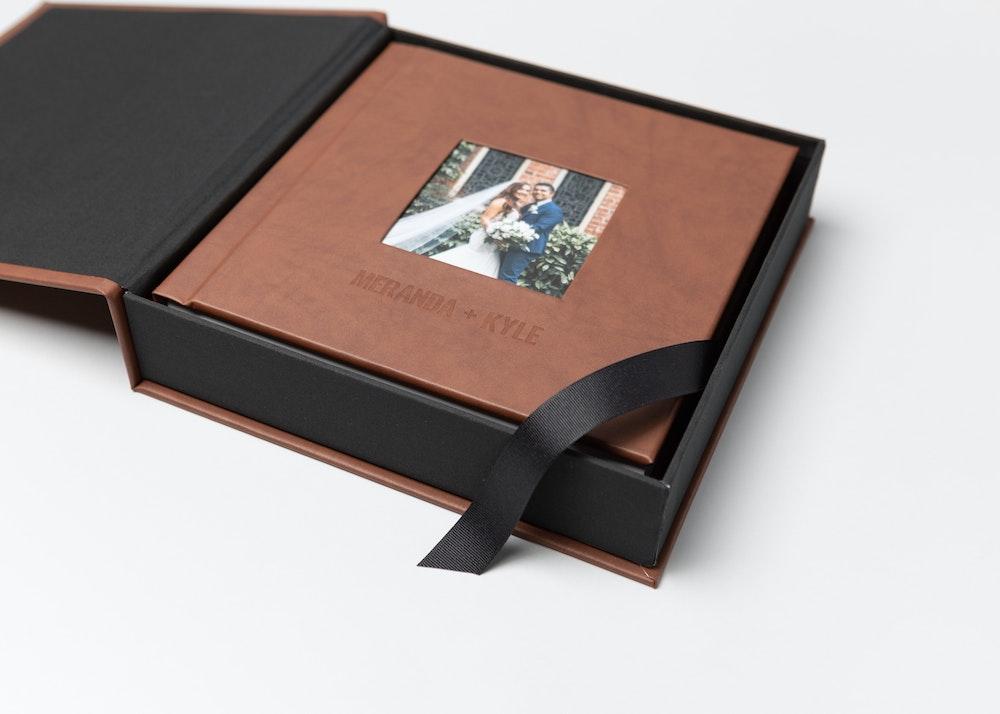 Leather wedding Album Box ribbon & corner detail