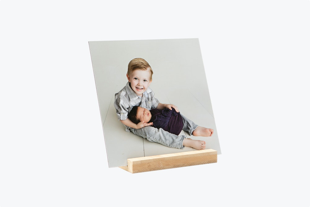 Mounted Photographic Print with Maple Wood Display Stand