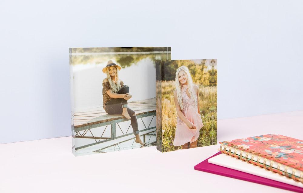 Multiple Acrylic Block sizes styled with senior notebooks
