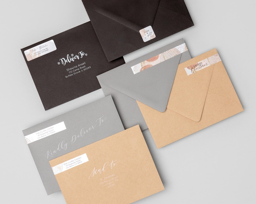 5x7 premium Envelopes with address label and envelope seal stickers