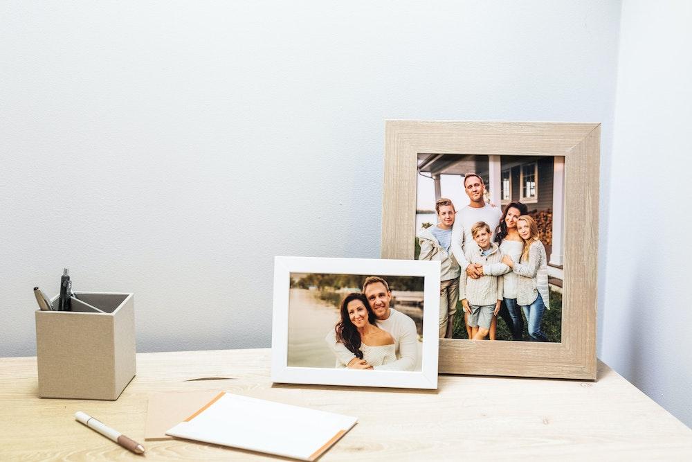Multiple Framed Tabletop Prints on mom's home office desk