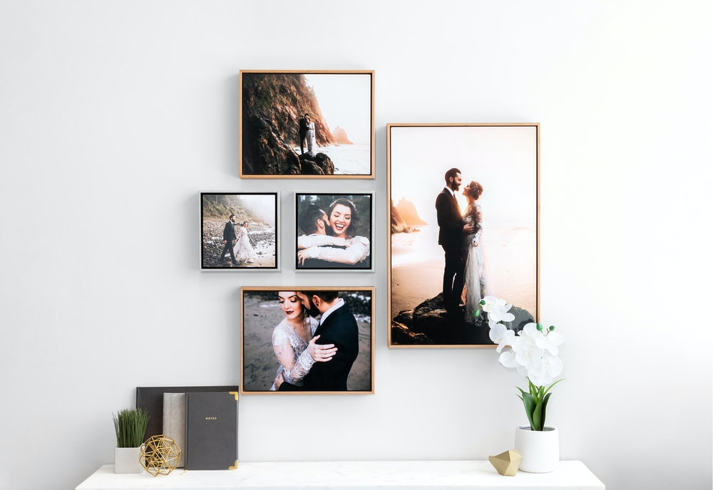 Wedding wall collage of multiple wood and metallic Float Frames