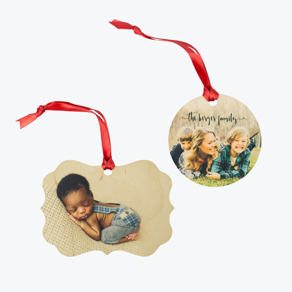 Multiple Wood Ornaments red ribbon hangers