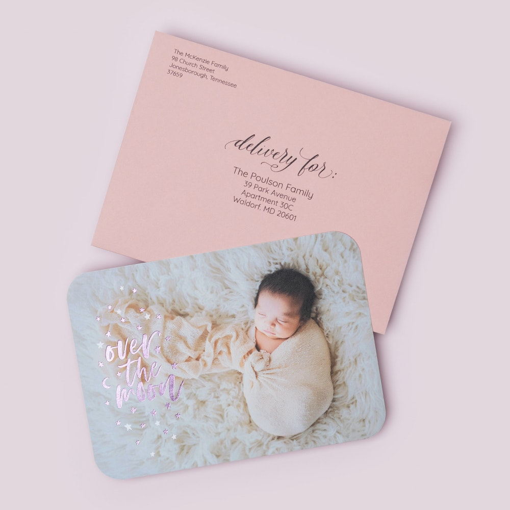 5x7 Flat Card newborn foil design and Dusty Rose premium envelope with address printing