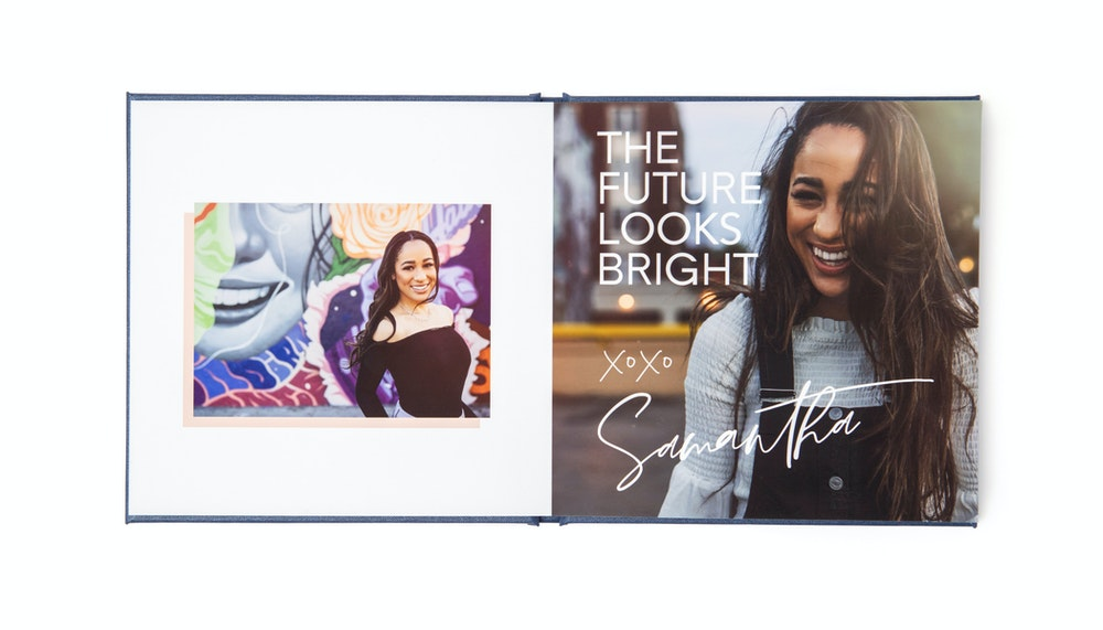 Open spread custom designed senior Layflat Book