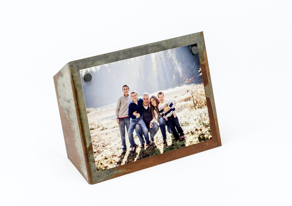 Photographic Prints on Acid Washed Metal Display Stand with magnets