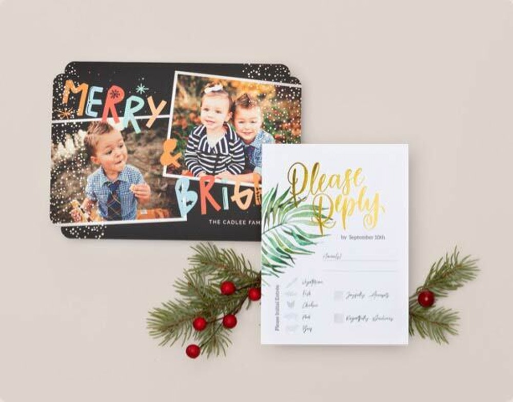Holiday foil pressed flat card designs in sample kit