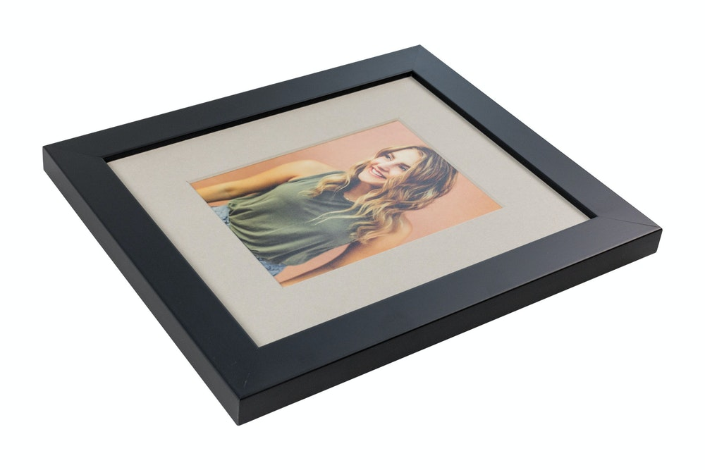 Single gray mat in black gallery Framed Print
