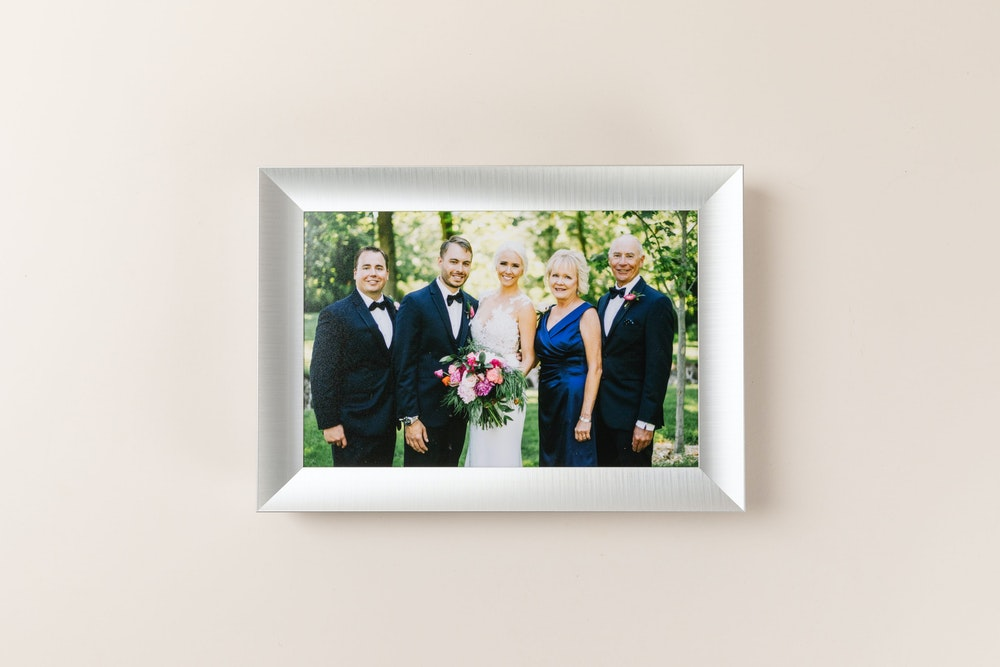 Framed Tabletop Print with silver metal moulding