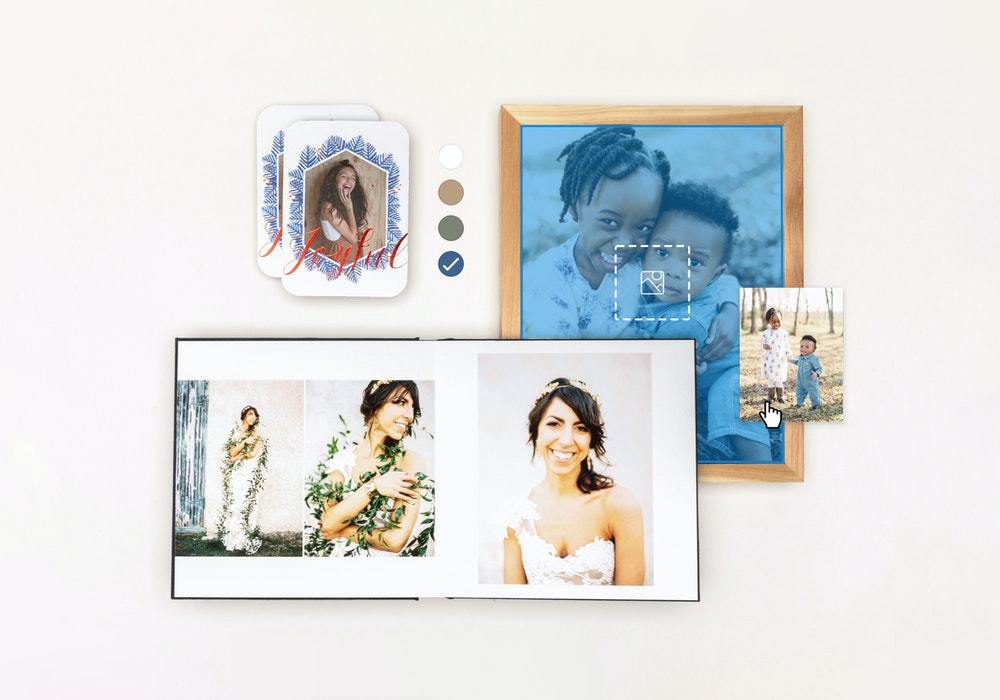 Studio Project album, framed print, and cards product design with interface elements