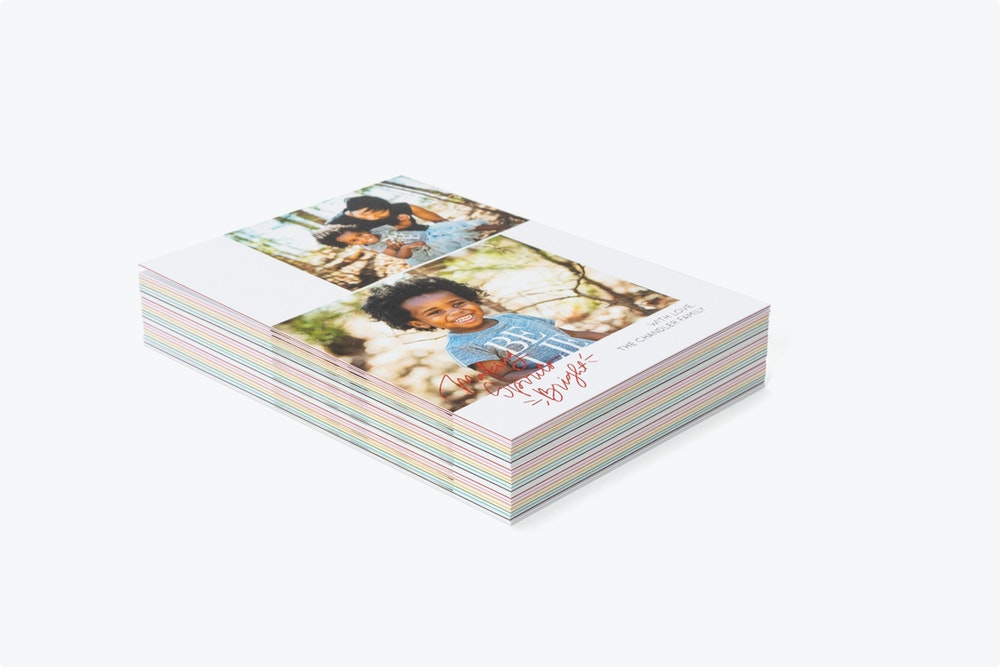 """Stack of 5x7"""" thick Flat Cards with colored inserts"""
