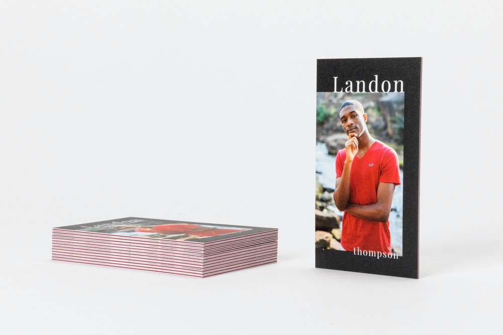 Triple thick Business Cards with red inserts as senior rep card