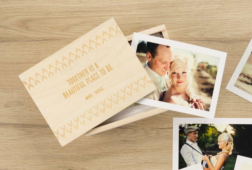 Wedding Proofs Prints with white borders in engraved Wood Box
