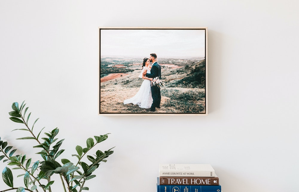 Natural Wood Float Frame with Fine Art Print hanging on wall